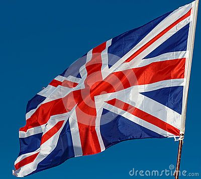 Great Britain Flag with wrinkles and seams expanded in the breeze