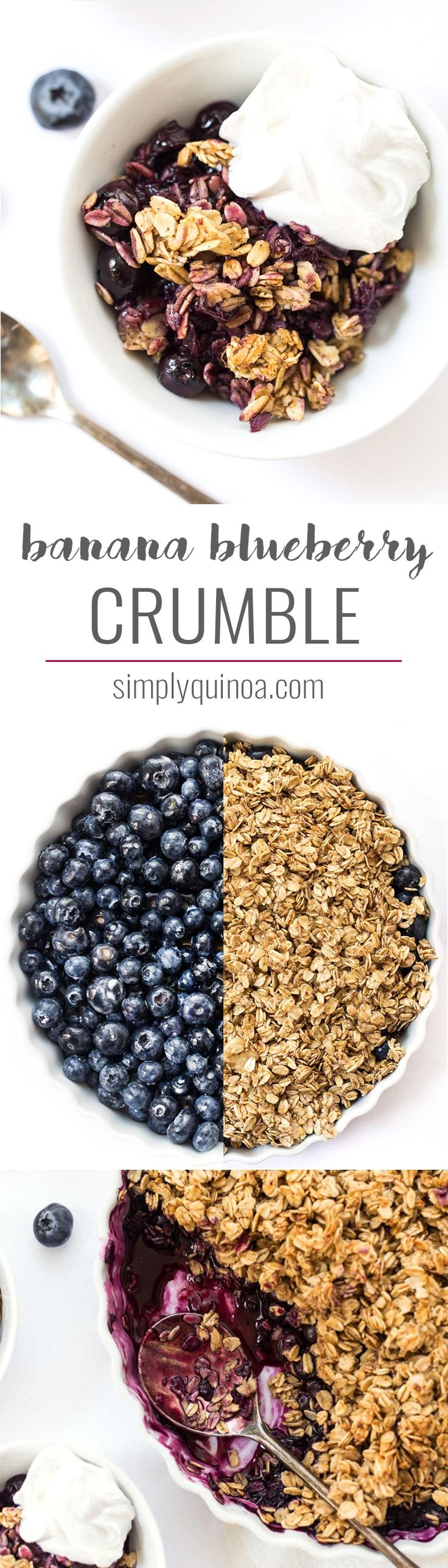 This BANANA BLUEBERRY CRUMBLE is a quick and easy summer dessert that everyone will love. It's light, healthy, vegan, and uses just 1/4 cup of sweetener!