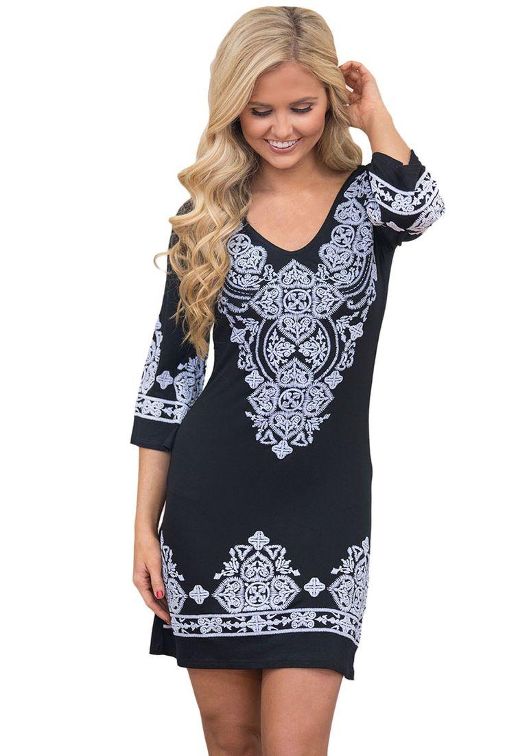 Chicloth Black Retro Tribal Pattern Short Dress