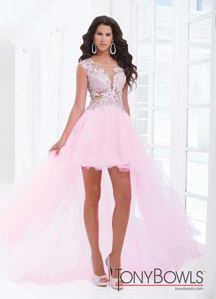 Tony Bowls 2014 Red Pink Purple Turquoise Blue Nude High Low Sheer Prom Dress 114548   Promgirl.net