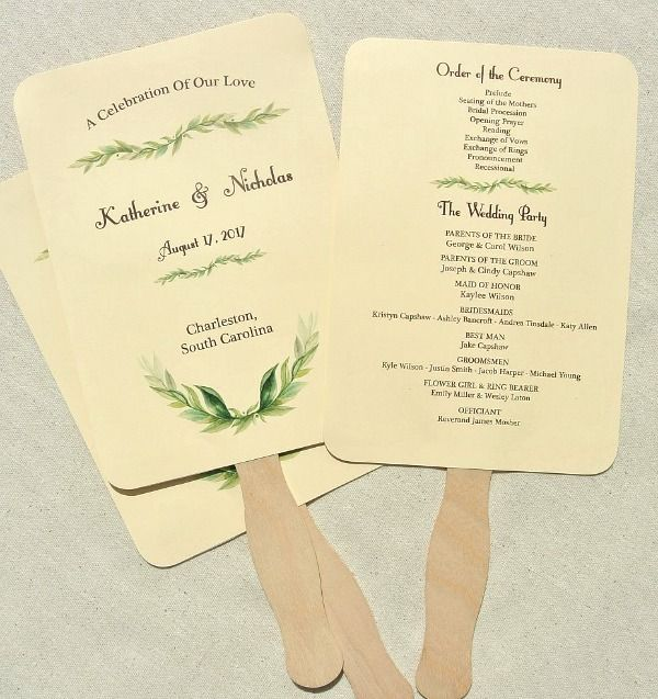Unique Wedding Reception Program Ideas: Custom Wedding Program Fans