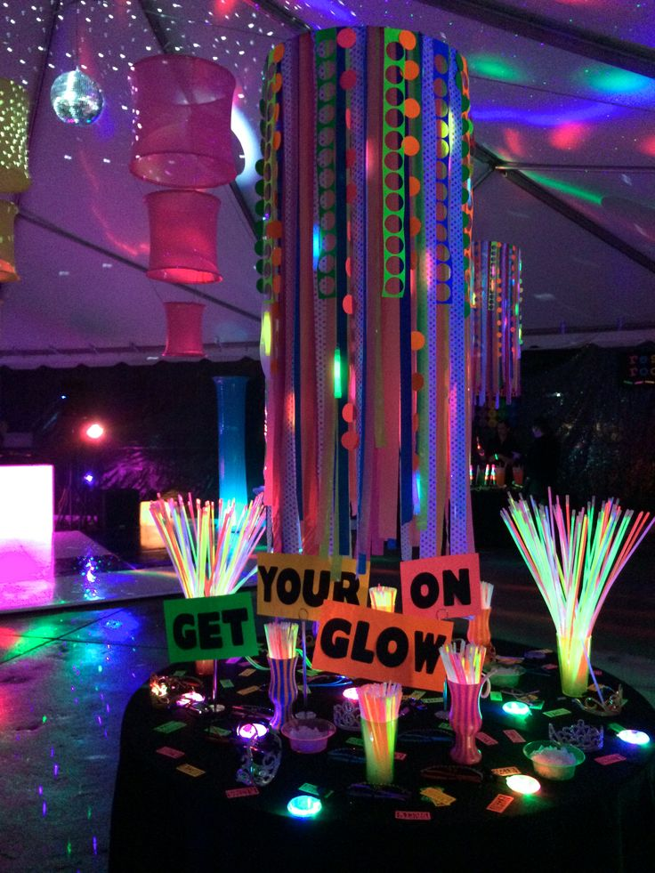 Get your glow on - a table filled with all manner of glowing paraphernalia