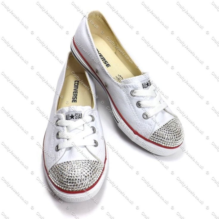 Swarovski or Diamante Crystal Converse Dance Lace You Choose Colour