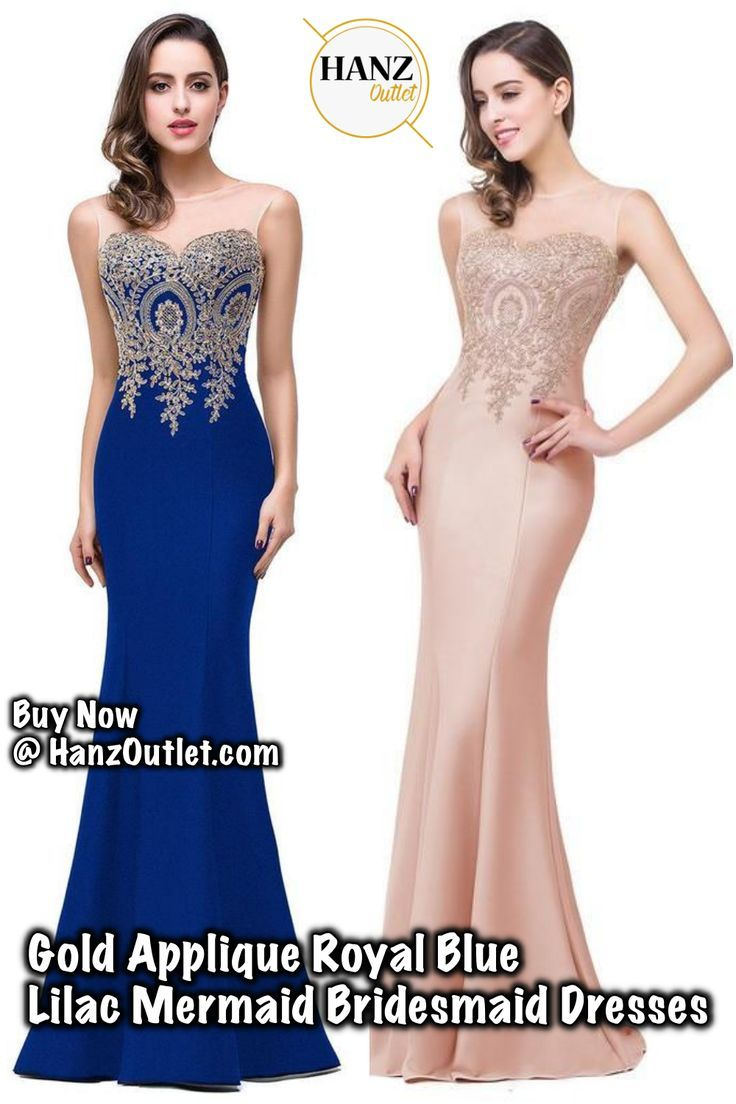 Gold Applique Royal Blue Lilac Mermaid Bridesmaid Dresses  GoldApplique   RoyalBlueDresses  BridesmaidDresses  Dresses 69616a1df24b