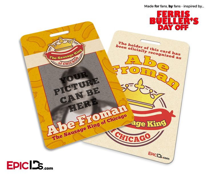 Ferris Bueller's Day Off Inspired Sausage King of Chicago ID Badge [Personalized]