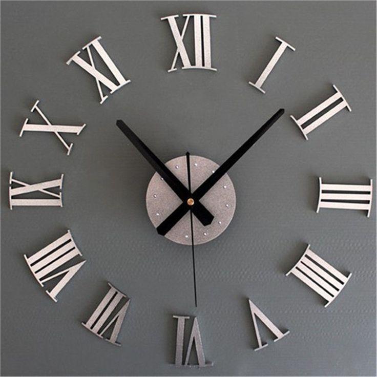 DIY 3D Roman Numerals Large Luxury Home Decor Mirror Wall Clock #KISO #ArtDeco
