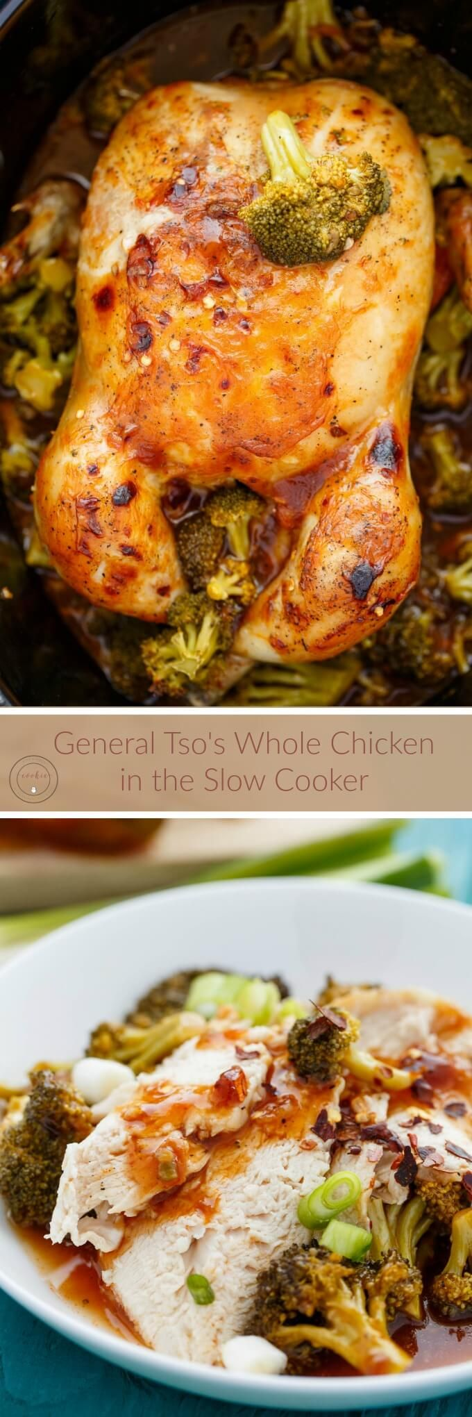 General Tso's Whole Chicken in the Slow Cooker   http://thecookiewriter.com   #chicken #slowcooker #glutenfree