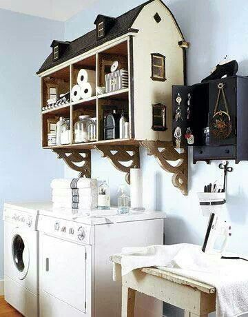 Use an old dollhouse as storage shelves. Link takes you to 40 other repurposing ideas (photos only).