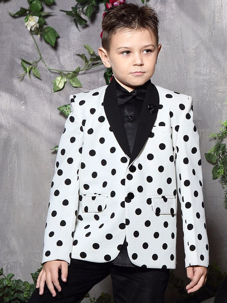 White Terry Rayon Printed Wedding Wear Boys Blazer