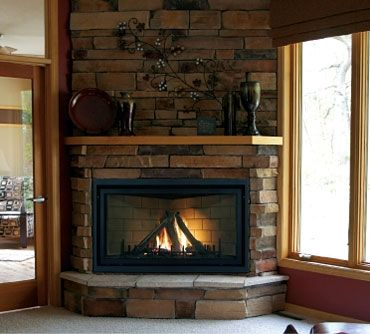 corner stone fireplace angles back to side walls - Corner Gas Fireplace Design Ideas