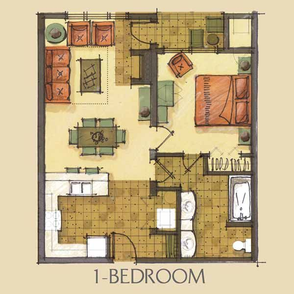 This Is My Favorite Floor Plan For Apartment Building  One Bedroom Condo Floor  Plan   Needs A More Open Kitchen And A Walk In Closet! Part 85