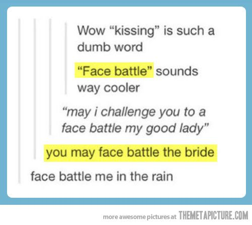 """I lost it at, """"You may face battle the bride."""""""