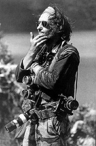 Dennis Hopper in Apocalypse Now. The movie borrowed heavily from Joseph Conrad's Heart of Darkness and Michael Herr's Dispatches. Hopper's character was modelled after the crazed, talented photojournalists described by Herr -- Tim Page, Sean Flynn and Dana Stone. Hopper was a photographer in his own right.