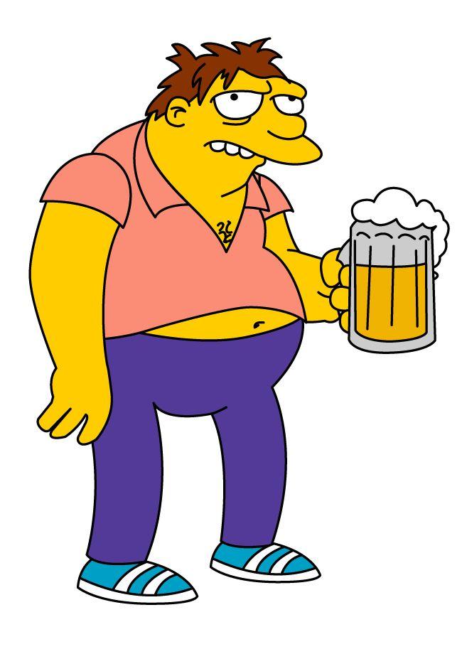 Barney el borracho de Los Simpsons, en vector e imagen normal.