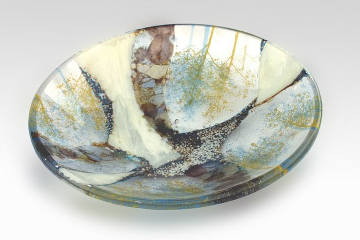 R.A. Morey Kiln Formed Glass Fused Glass - bowls - Blue and Yellow Trees 3069