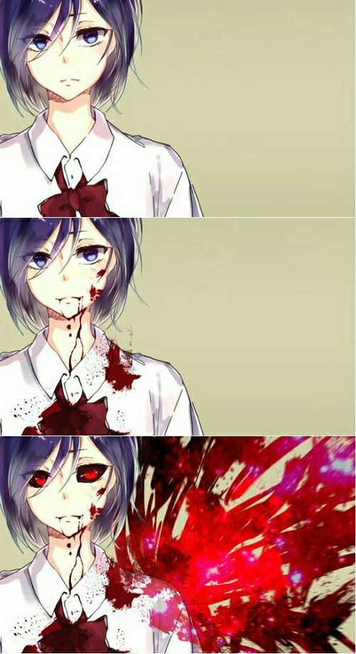 """At first I was like """" who is that """" then I saw blood then i was like """" she must be a yandere or something """" then the spikes com out and I was like """"oh touka """""""