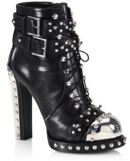 Alexander McQueen Studded Leather Lace-Up Buckle Booties