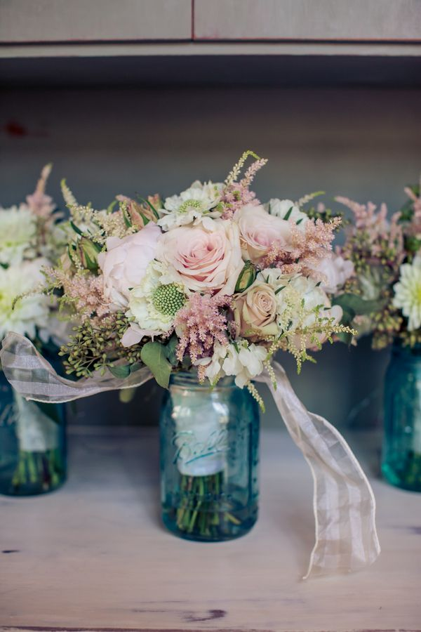 Blue Mason Jars At Wedding
