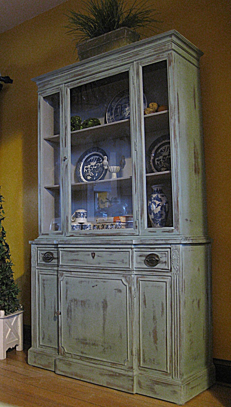 Antique Duncan Phyfe China Cabinet finished in a French Robins Egg Blue finish
