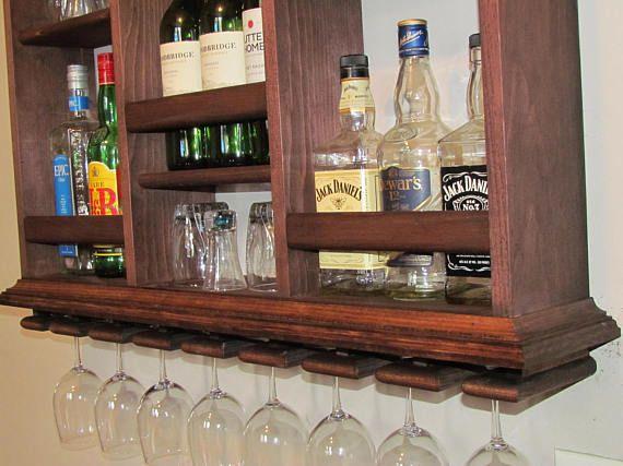 Mini-Bar armario de 3 x 2 rojo caoba mancha de licor
