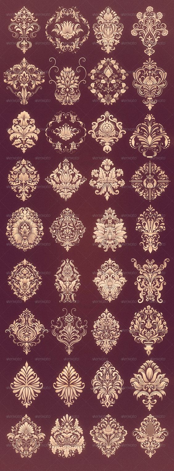 36 Damask Ornamental Elements by GarryKillian | GraphicRiver