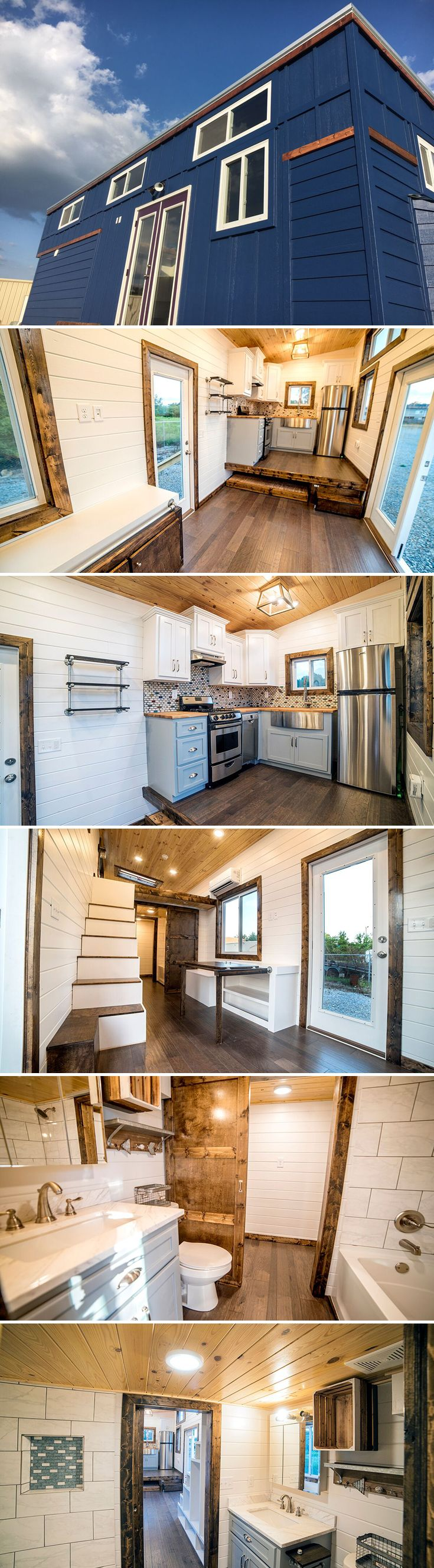 The 32' Blue Moon from Harmony Tiny Homes features a queen size trundle platform that pulls out from under the elevated kitchen floor.