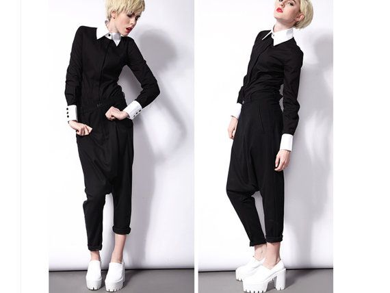 Black shirt for women with white high collar from BWG studios.