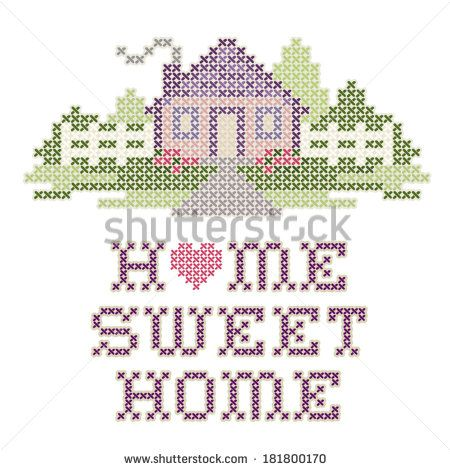 Embroidery, Home Sweet Home Cross Stitch design in pastel colors, needlework heart, house, picket fence in landscape graphic, isolated on white background. EPS8 compatible.  - stock vector