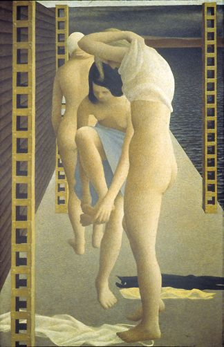Three Girls on Wharf by Canadian painter Alex Colville, 1953. Glazed casein tempera on masonite | Art Gallery of Nova Scotia