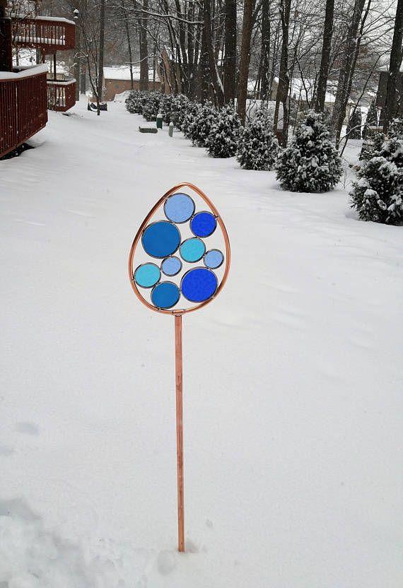 Glass Garden Art Stake outdoor garden sculpture handcrafted by Bello