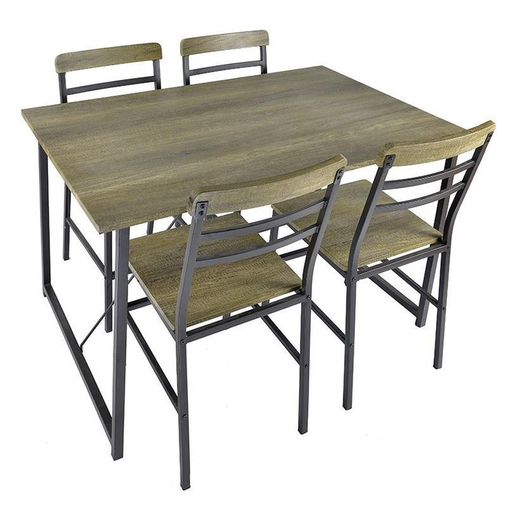 S/5 WOODEN/METAL TABLE W/4 CHAIRS 120Χ80Χ75 / 40X44X88