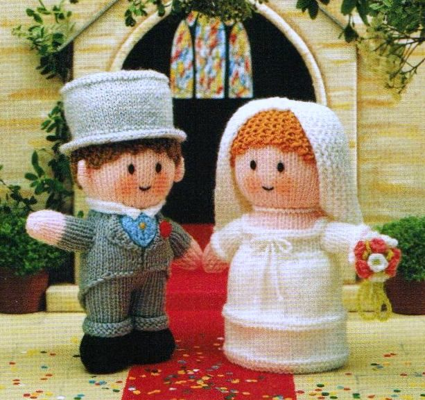 """From Jean Greenhowe's 'Little Gift Dolls' collection comes the happy Bride and Groom. If you were paying attention when it was on this happy couple starred in Harry Hill's 'The K Factor - there was a gripping story line, but with some distinctly 'woolly' acting! Knitted in DK wool they are quick and easy to make and are about 18cm/7"""" high (excl. head decor). Designed and published by Jean Greenhowe Designs in 1989."""