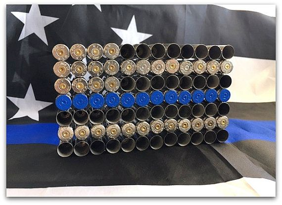 Thin Blue Line Bullet Shell Flag 9mm by GomezFarmsCrafts on Etsy
