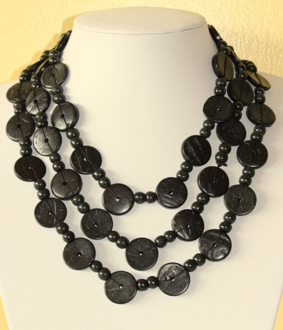Ethnic Coconut Shell Necklace. Handmade. Extra Long by MapenziGems, $19.95