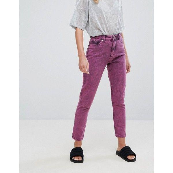 Monki Acid Wash Kimomo Mom Jeans (£45) ❤ liked on Polyvore featuring jeans, pink, acid wash skinny jeans, slim fit skinny jeans, high-waisted acid wash jeans, high waisted jeans and slim skinny jeans