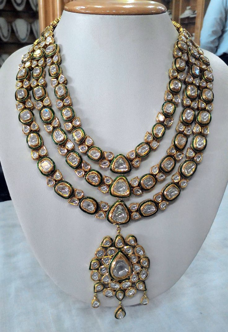 Glamorous 3 line vilandi set with old-cut diamonds | Kundan Meena Jewelry | Vilandi Jewelry | Diamond polki jewelry | Bridal sets | Traditional Indian Jewelry | Wedding Jewelry
