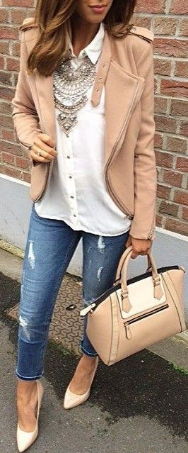 #summer #prefall #outfits | Nude Jacket + White Shirt + Jeans More