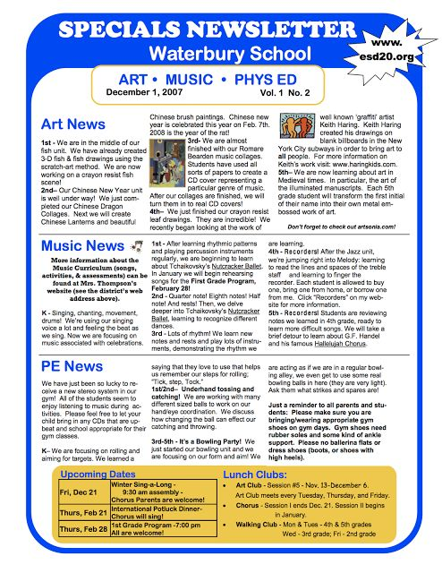 Best School Stuff Newsletter Ideas Images On   Music