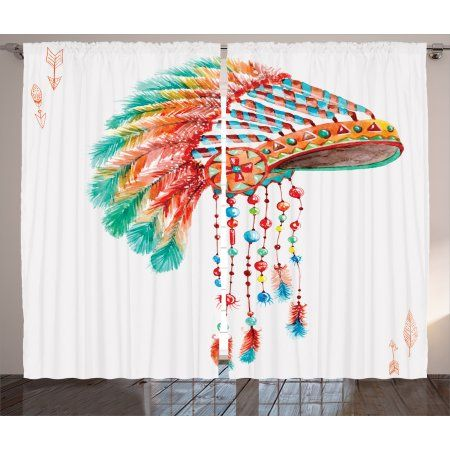 Free Shipping. Buy Native  Curtains 2 Panels Set, Watercolor Tribal Indian Chief Headdress with Feathers and Beads Arrow Figures Print, Living Room Bedroom Decor, Orange Blue, by Ambesonne at Walmart.com