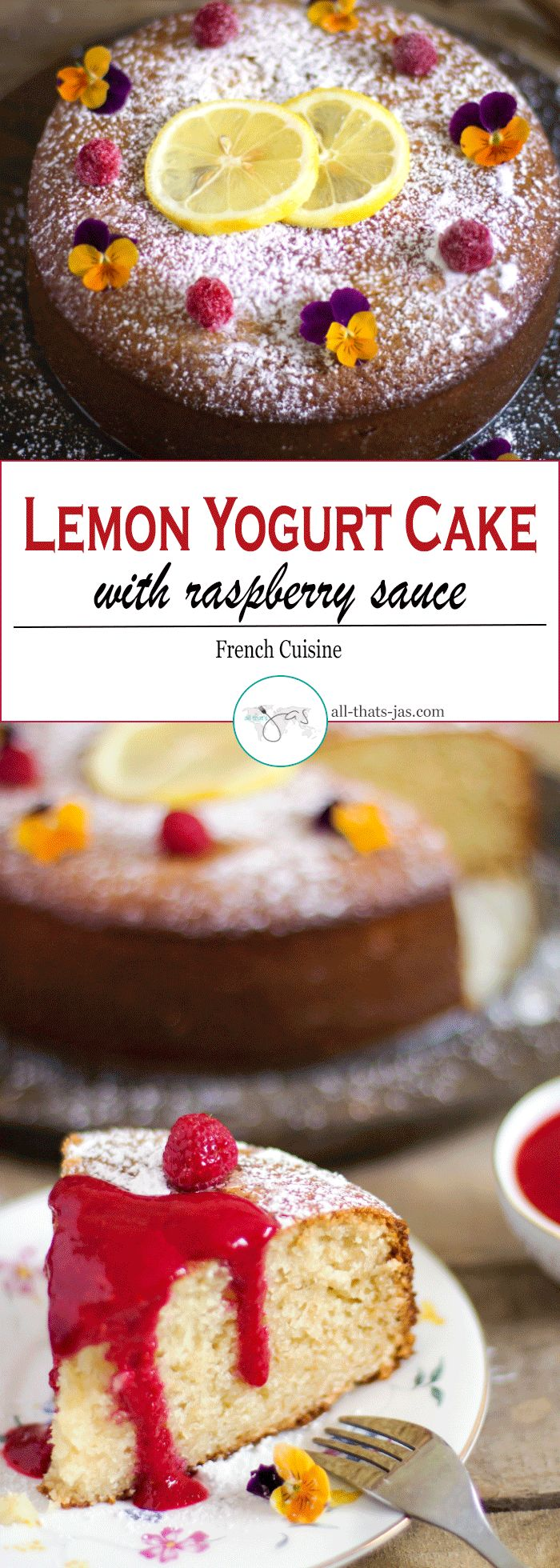 This easy lemon yogurt cake with raspberry sauce takes only minutes to put together and makes a perfect go-to dessert or delicious afternoon snack.