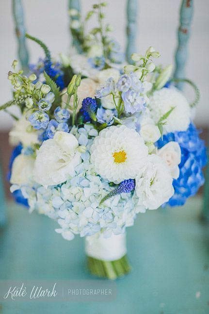 Bouquet of blue and white dahlias, hydrangea, delphinium, veronica and lisianthus by www.blossomweddingflowers.co.nz  Photo by www.katewark.co.nz