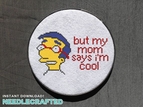 """Milhouse """"But My Mom Says I'm Cool"""" Cross Stitch by needlecrafted"""