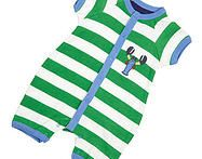 This cute short sleeve boys romper comes in chunky green stripes featuring lobster detailing. Features front popper opening for easy peasy dressing