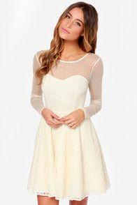 Nice sweetheart neckline. Cherish You Cream Lace Dress  Service Dress