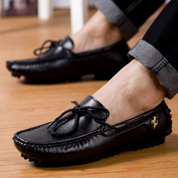 28.50$  Buy now - http://alij2g.shopchina.info/1/go.php?t=32747148399 - 2017 New Fashion Men's Casual Shoes Boat Shoes For Men Black Brown White Leather Shoes Lazy Autumn Men Loafers Zapatos Hombre  #aliexpressideas