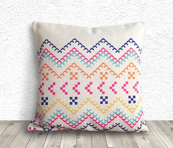 Awesome Pillow Cover, Aztec Pillow Cover, Tribal Pillow Cover, Linen Pillow Cover  18x18