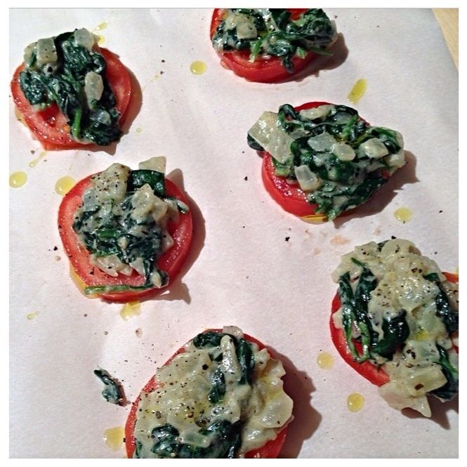 chilled tomatoes and spinach saute