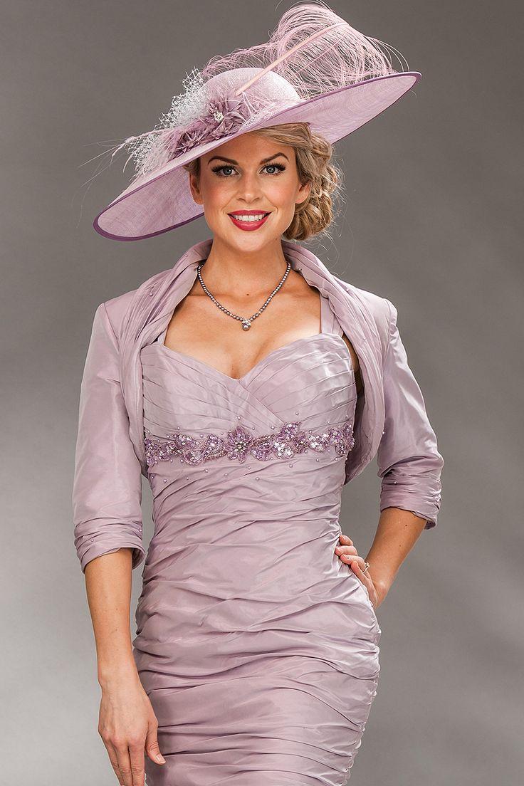 Knee lengthdress with sweetheart neckline and bolero jacket  Product Code: 498  Colours: Smokey Lilac, Denim