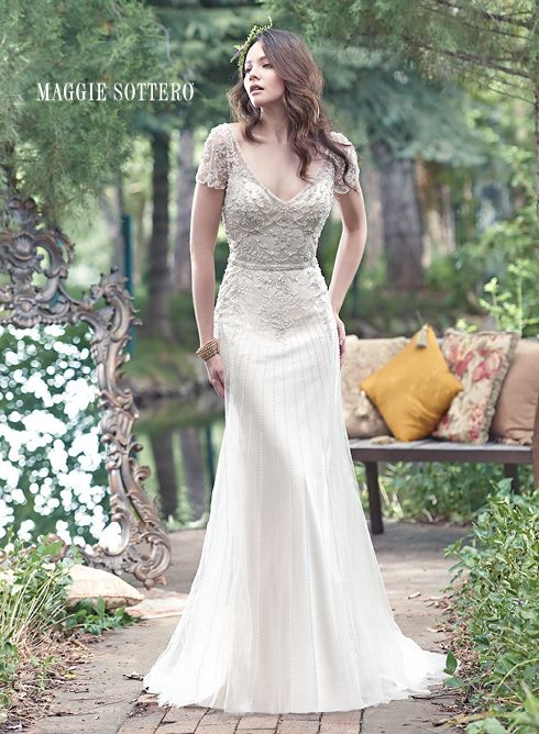 Beaded Sleeves Sheath Wedding Dress by Maggie Sottero available at The Bridal Cottage