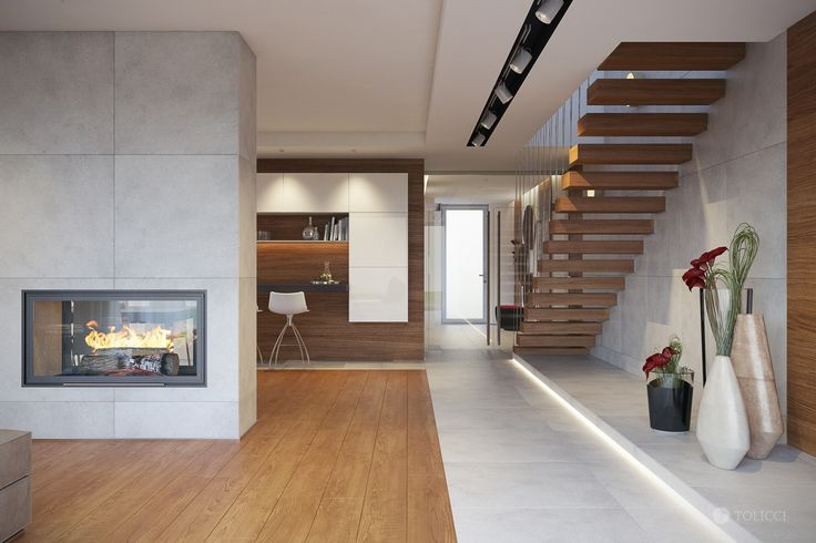 foorni.pl | Nowoczesny dom w Bratysławie, drewniane schody wspornikowe